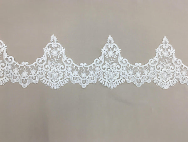 Corded Lace Trim (1623T) Ivory