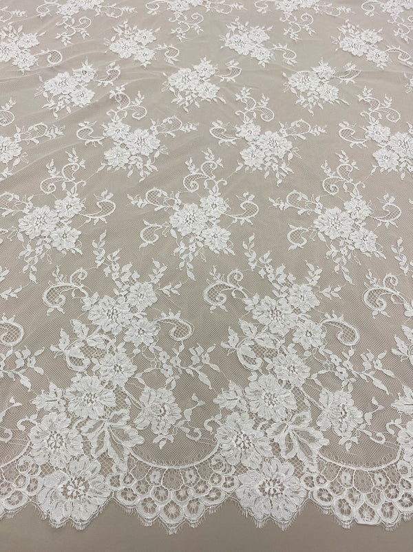 Corded Floral Lace (1634) Ivory