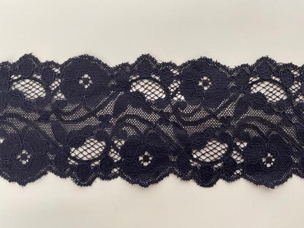 Fine corded lace trim (5k420) Black