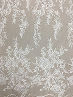 Embroidered Floral Tulle (LV11246) Ivory/gold