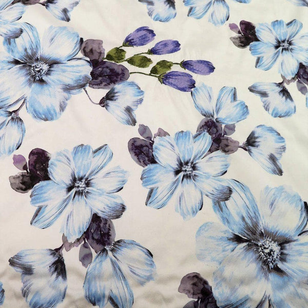 Printed Floral Dupion (Ed17038) Blue
