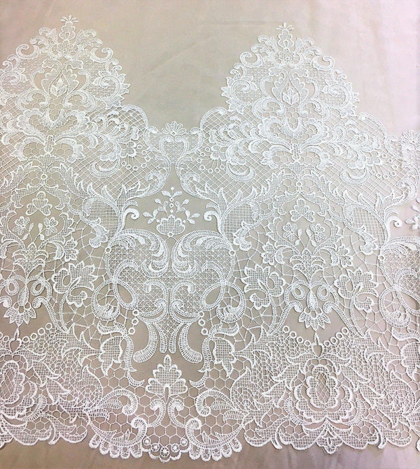 Embroidered Border Lace (Fj4132) Ivory