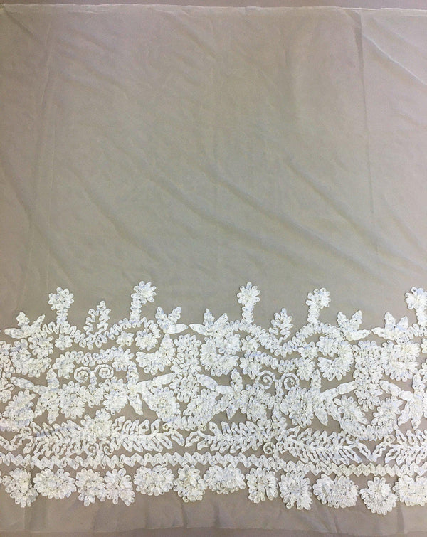 Ribbon Embroidered Tulle (K20101) Cream