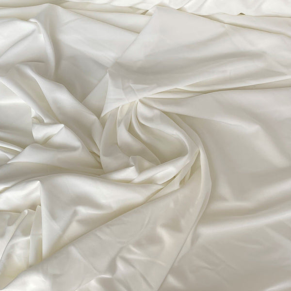 Recycled Stretch Polyester Crepe Ivory