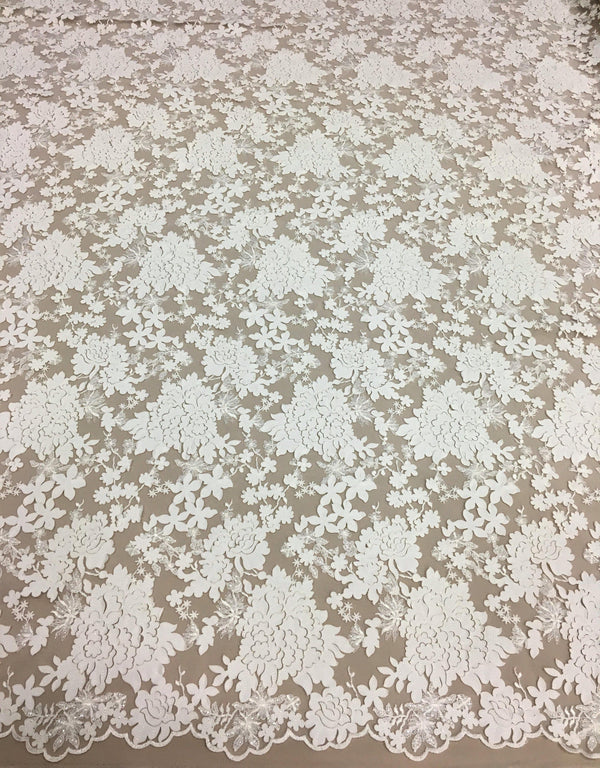 Floral laser cut embroidery (W31200) Ivory