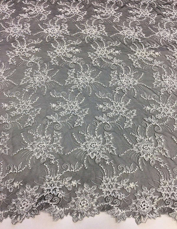 Floral embroidered tulle (W380) Black Ivory