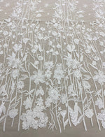 Embroidered Floral Tulle (W52333) Ivory