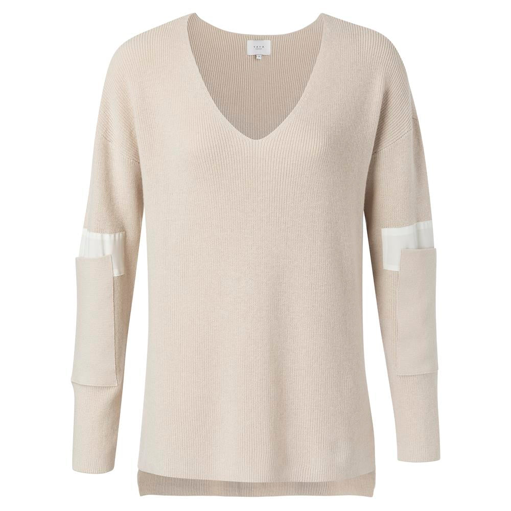 V-neck Sweater With Sleeve Detail - Soft Beige