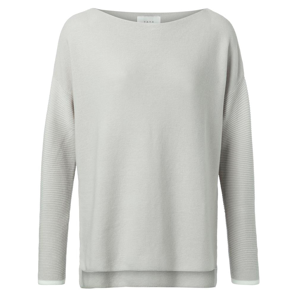 Basic Cotton Boatneck Sweater with Rib Knitted Sleeves - Utility Green Melange