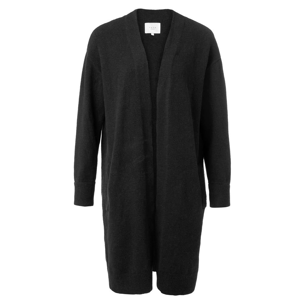 Long Classic Cardigan with Side Pockets