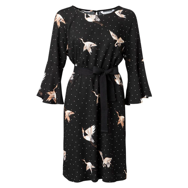 Cranebird Print Dress