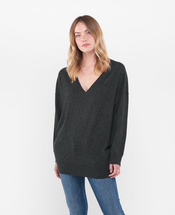 Dark Ash Wool and Cashmere Knitted Pullover