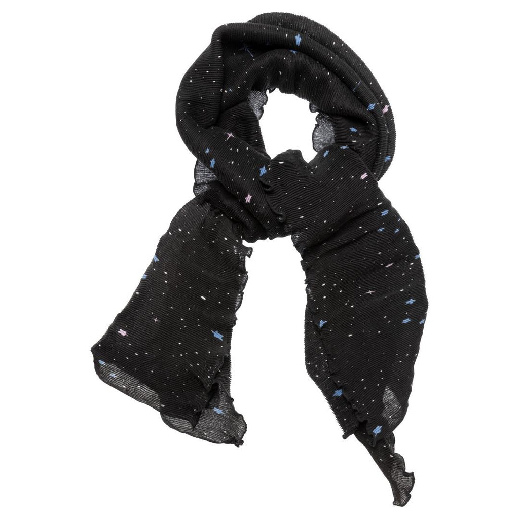 Plisse Scarf With Star Print