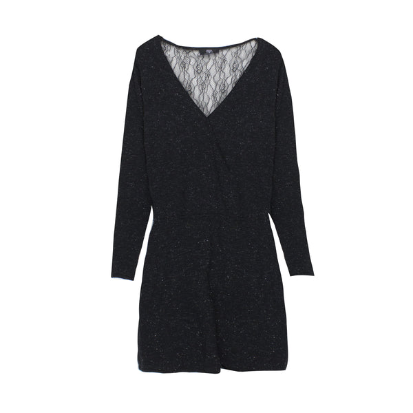 LTDC Black Lace Knitted Dress