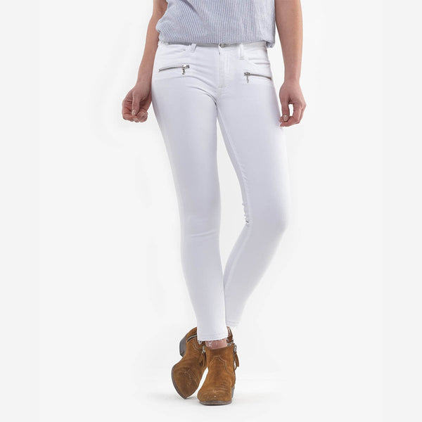 White Denim Jeans-Frayed