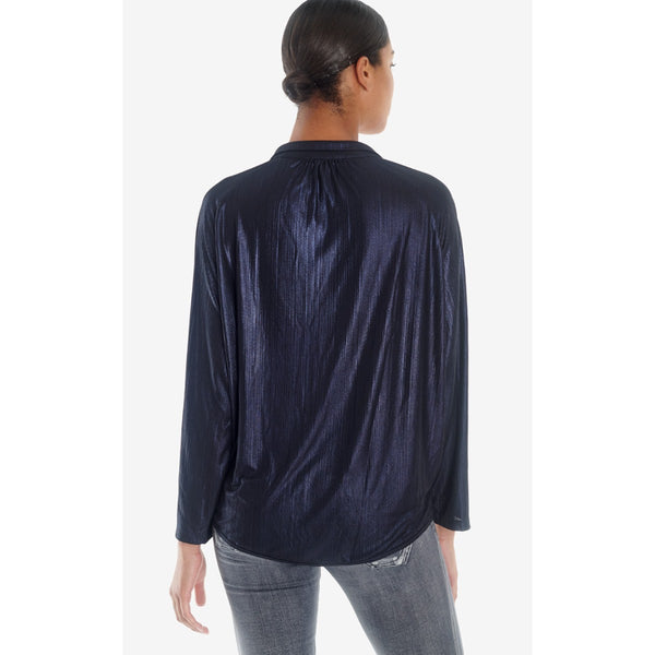 Dark Navy V-Neck Blouse