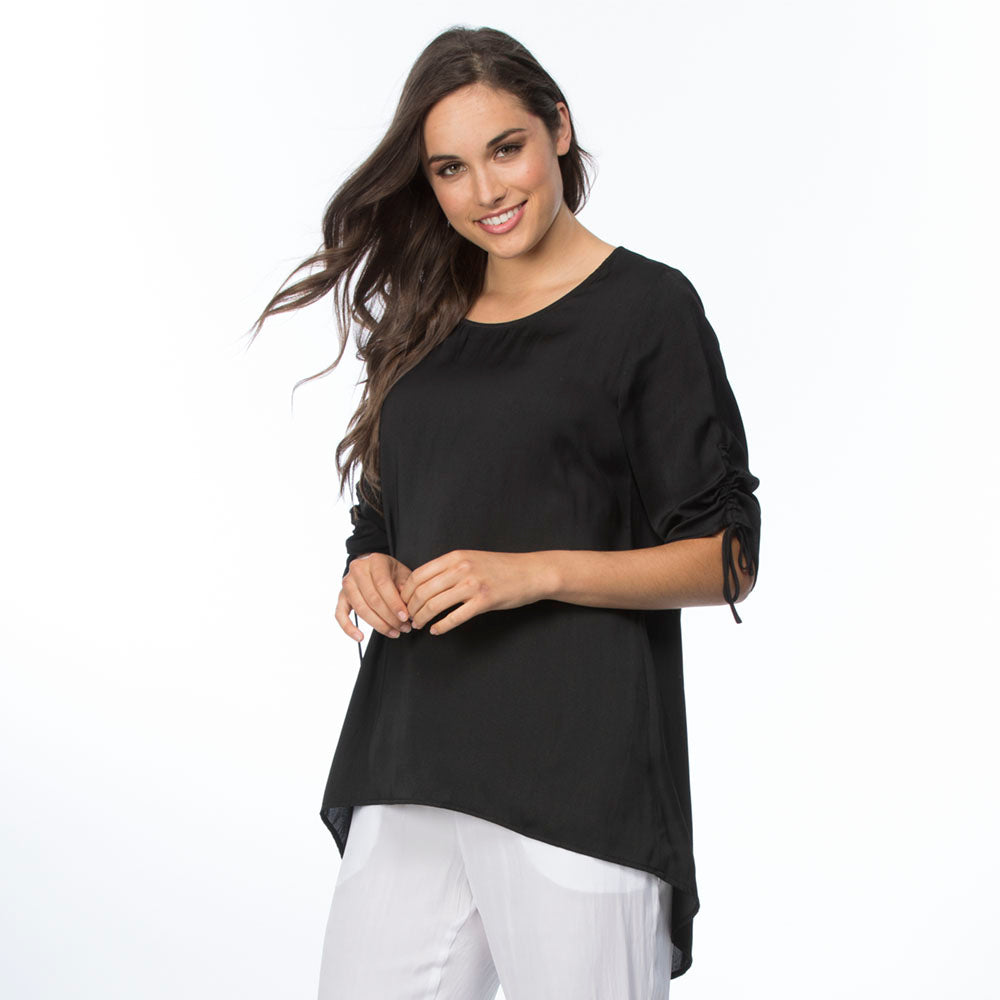 Rouche Sleeve Luxe Top