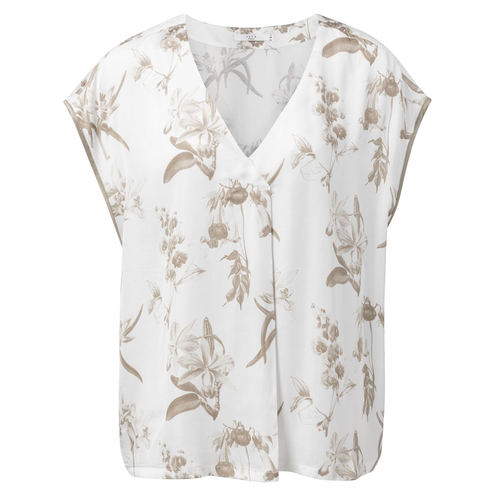 Botanic Print V-Neck Top