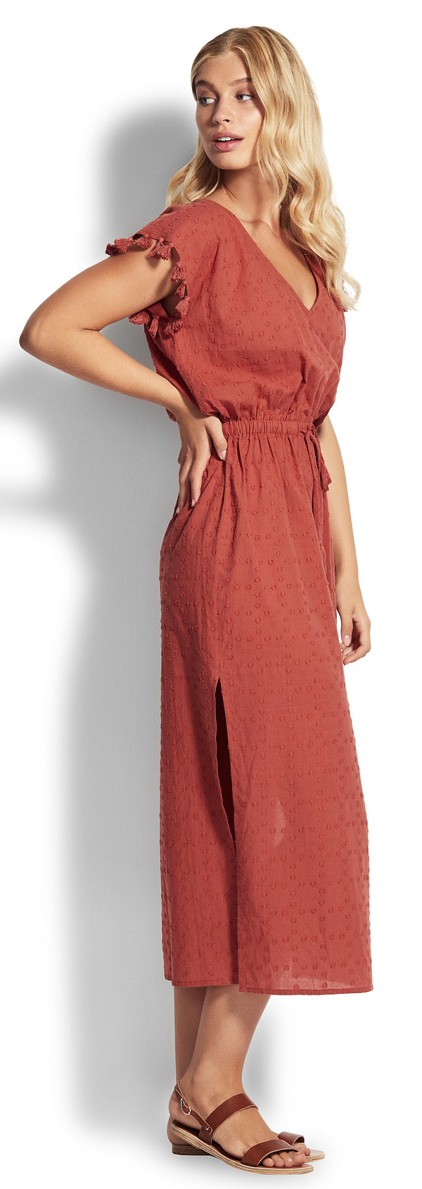 Textured Cotton Maxi Kaftan