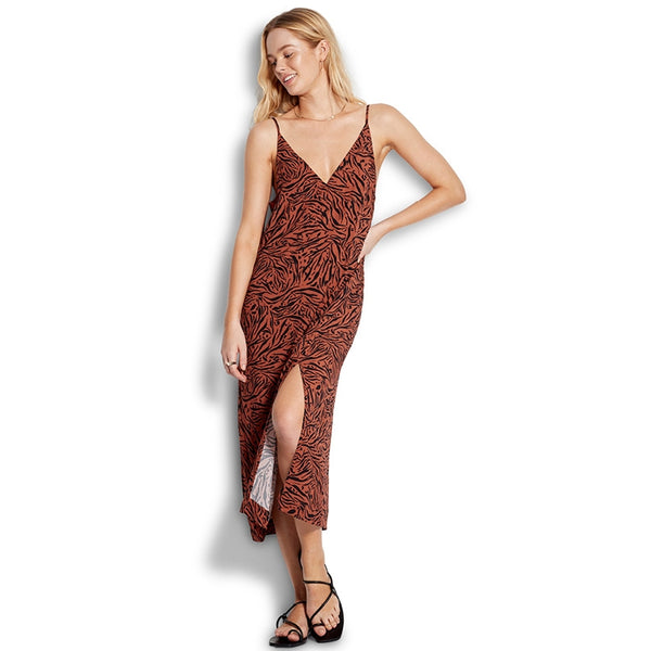 Amazonia Rust Leopard Slip Dress