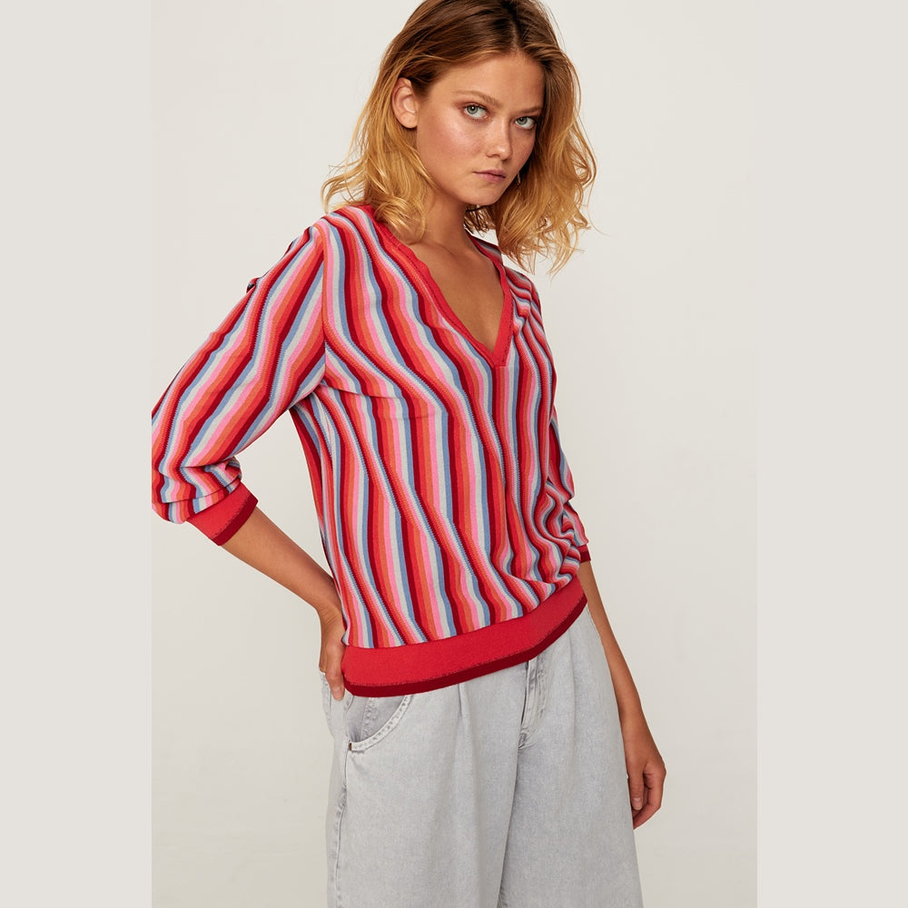 Dione Red Striped Jersey