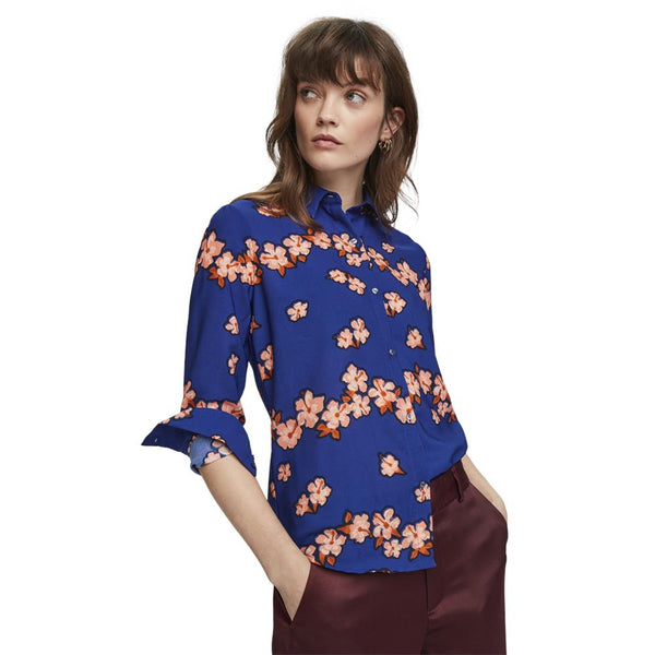Blue Shirt with Tropical Flower Print