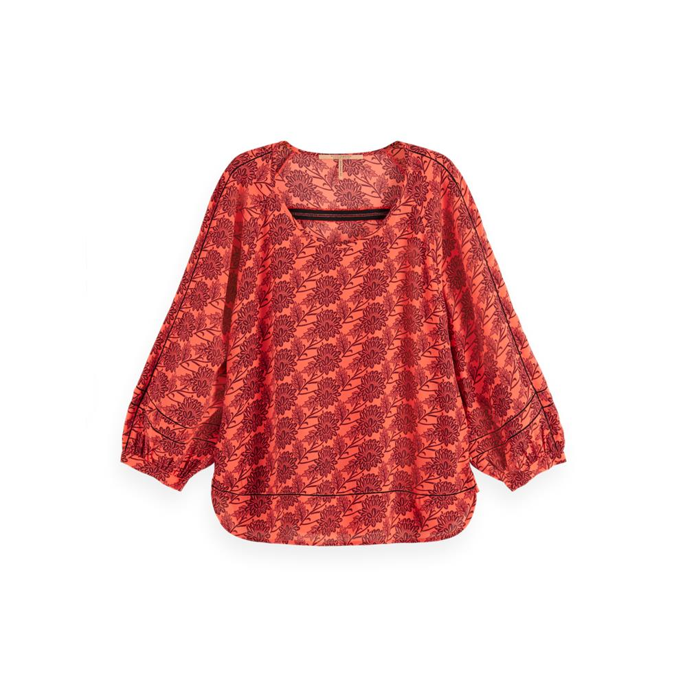 Red Woven 3/4 Sleeve Top