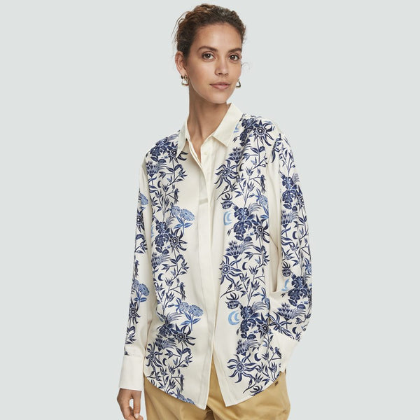 White Floral Silk Shirt