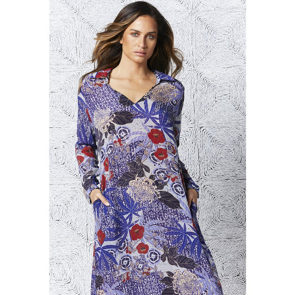 Bora Long Iris Cobalt Dress