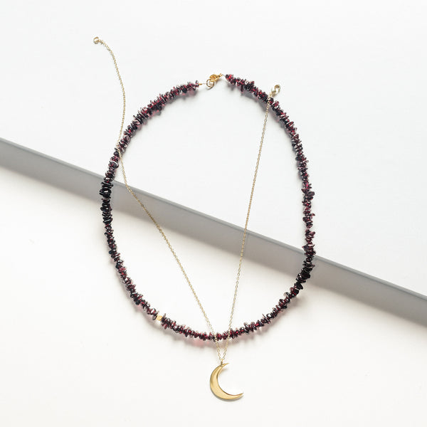 Deep Red Garnet Stone  Necklace