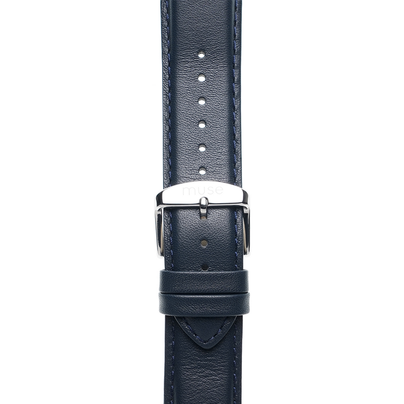 Foulard Navy Blue Strap 22mm with Silver Link