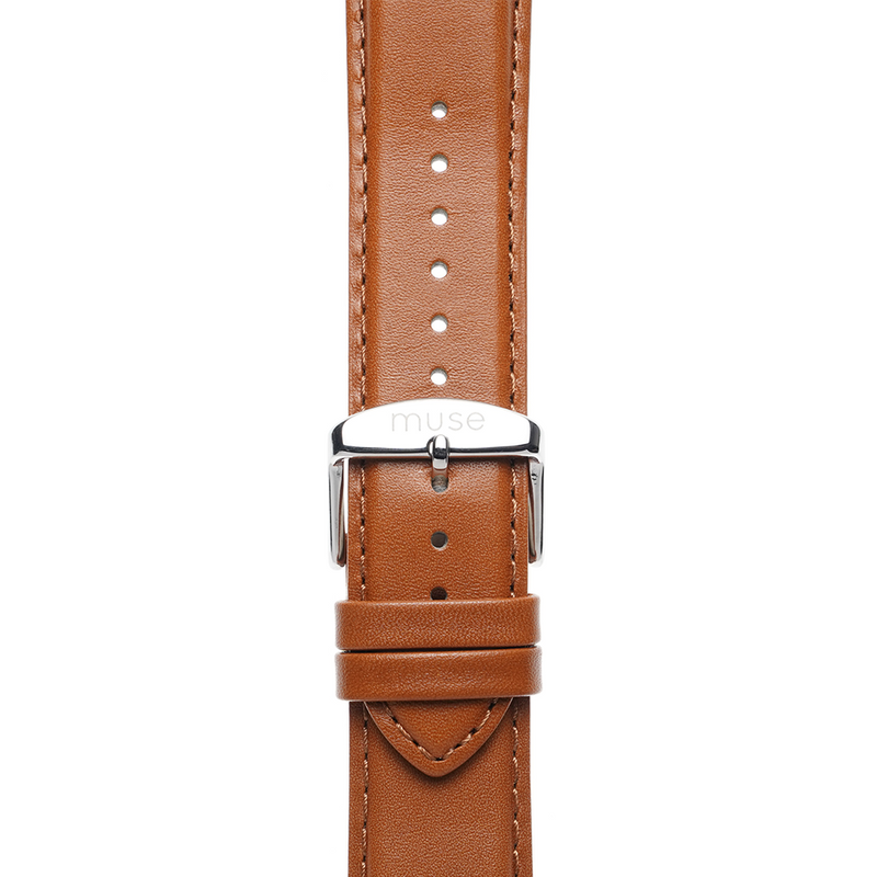Lavata Rust Tan Brown Strap 22mm with Silver Link