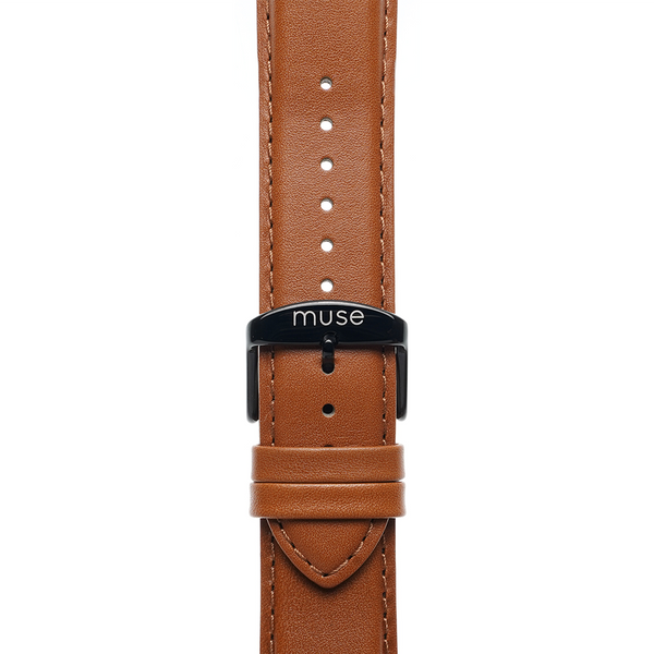 Lavata Rust Tan Brown Strap 22mm with Black Link