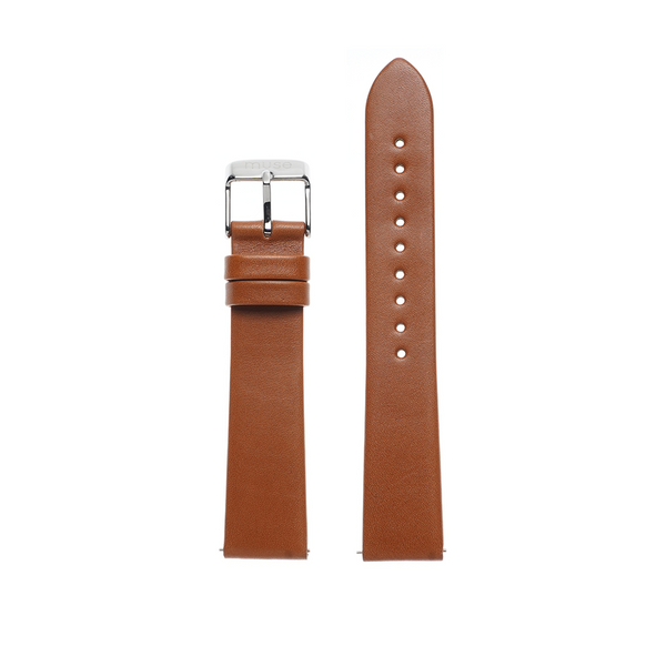 Lavata Rust Tan Brown Strap 18mm with Silver Link
