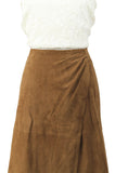 A-Line Brown Suede Skirt