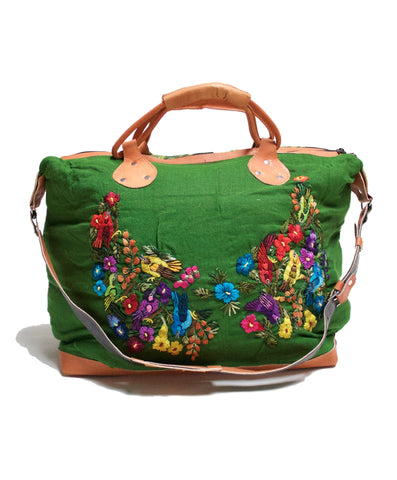 Green, Winged Guatemalan Weekender Bag.