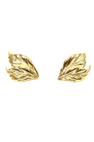 Gold Vintage Feather Earrings