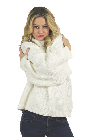 White Knit Cowl Neck Sweater