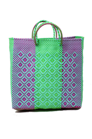 Oaxacan Shopping Tote, Green & Purple