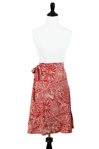 Red & White Wrap-Around Skirt