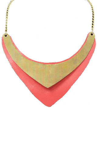 Costa Rican Necklace, Red Leather