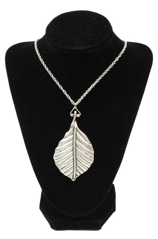Large Silver Leaf Necklace