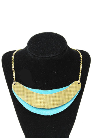 Costa Rican Necklace, Turquoise Leather