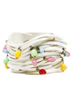 White Leather Beaded Bracelet