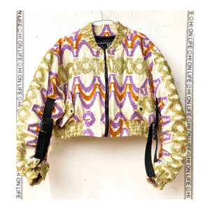 H.O.L 2.0.8_1 BO$$ BLING CROP BOMBER PURPLE/GOLD