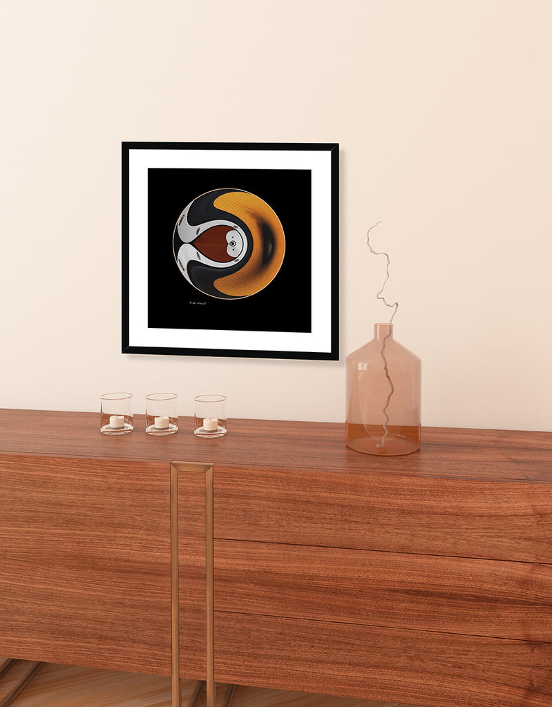 Setup of image titled - Traveler - by Mark Wessel. Framed and mounted print with black wood frame.