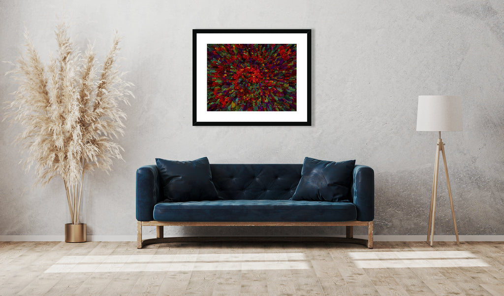 Abstract art print titled - Splash - by Mark Wessel. Framed and mounted print. Shown in a modern living room setup.