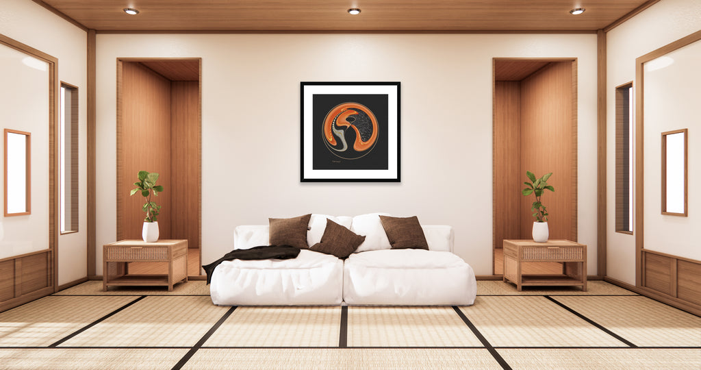 Abstract art print titled - The Path - by Mark Wessel. Framed and mounted print. Shown in a tropical style setup.