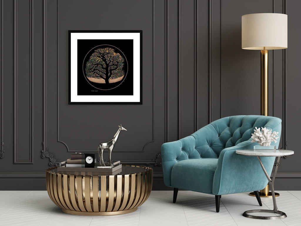 Abstract art print titled - Tree of Life - by Mark Wessel. Framed and mounted print. Shown in classic deco setup.