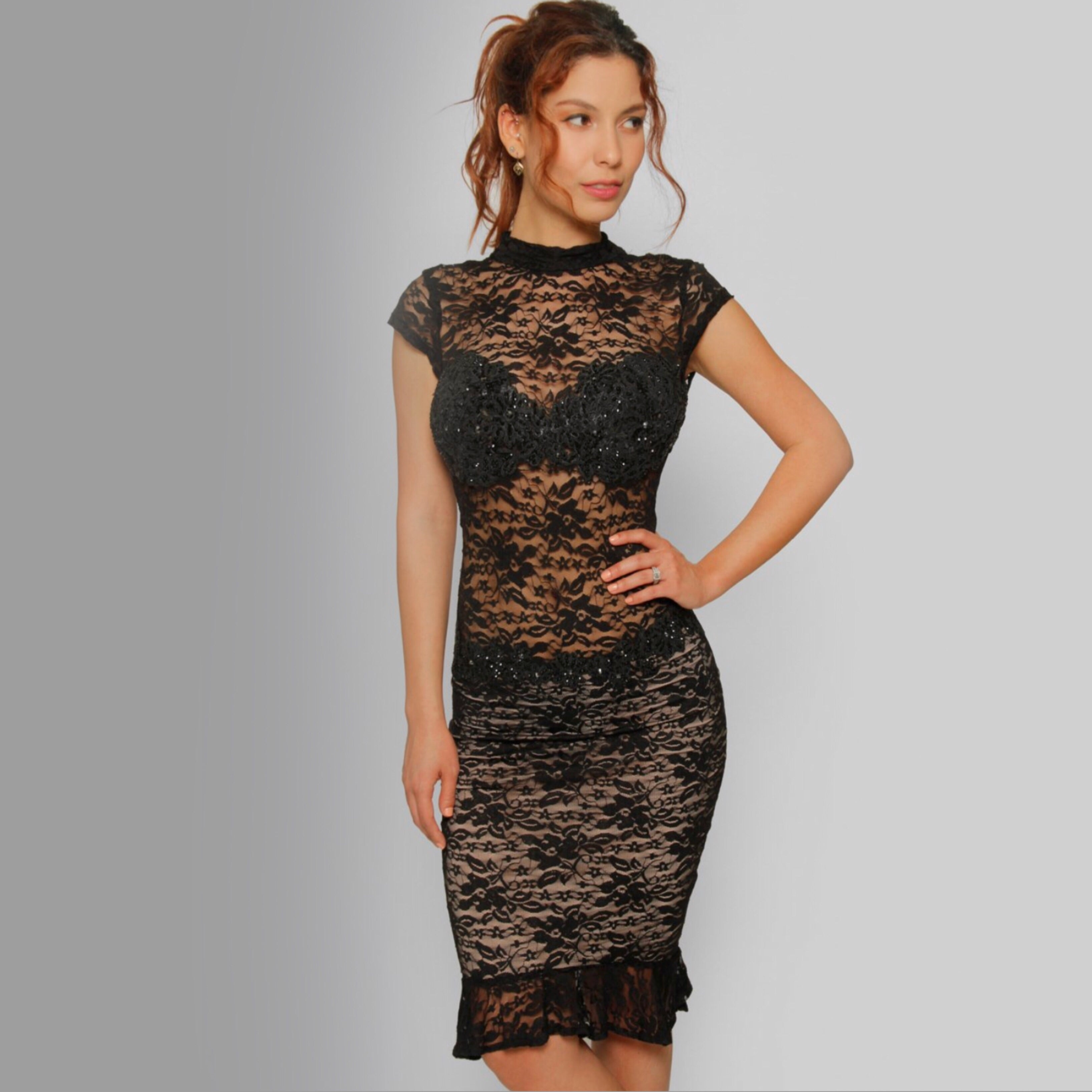 Turtle Neck Lace Dress Swarovski crystals - Claudio Milano couture